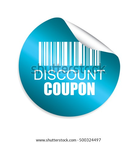 Discount coupon blue sticker, button, label and sign.