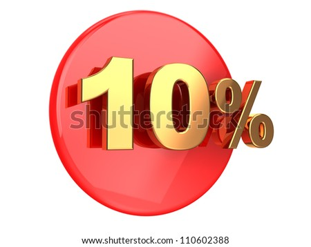 Discount coupon: 10 percent on a red circle - stock photo