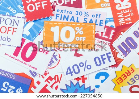 Discount coupons - stock photo