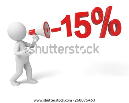 discount/3d people with megaphone inside shopping bag. 3d image. Isolated white background.