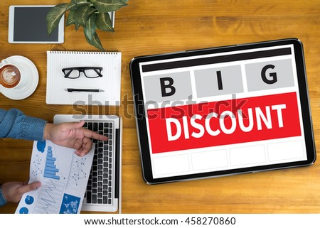 DISCOUNT    (Discount Price Promotion Special ) Businessman working at office desk and using computer and objects, coffee, top view,