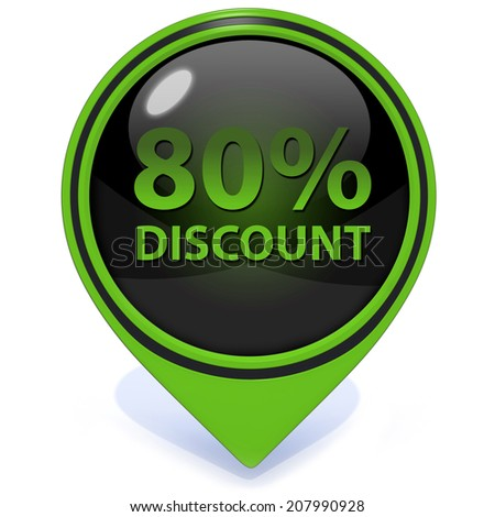 Discount eighty percent pointer icon on white background