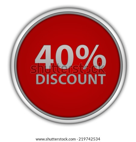 Discount forty percent circular icon on white background