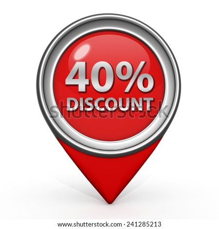 Discount forty percent pointer icon on white background