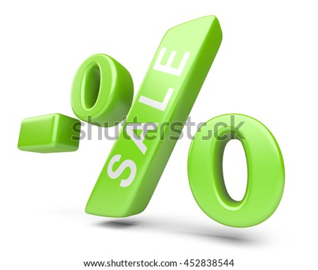 Discount green percent isolated on a withe background. High resolution image.