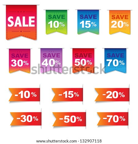 Discount Labels And Ribbons Set, Isolated On White Background