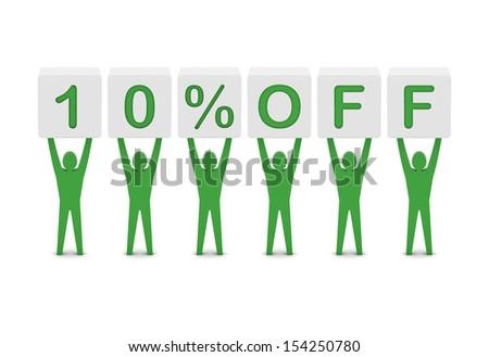 Discount. 10 percent off. Concept 3D illustration. - stock photo
