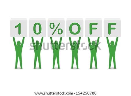 Discount. 10 percent off. Concept 3D illustration. - stock photo
