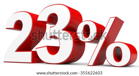 Discount 23 percent off. 3D illustration.