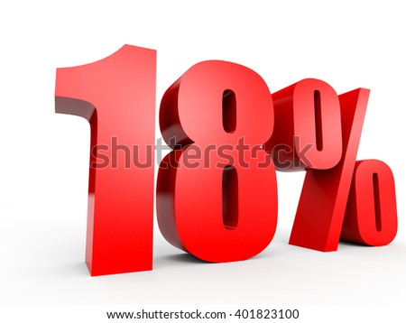 Discount 18 percent off. 3D illustration on white background. - stock photo