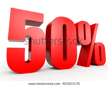 Discount 50 percent off. 3D illustration on white background. - stock photo
