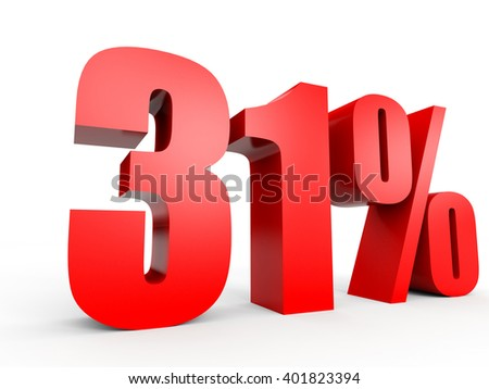 Discount 31 percent off. 3D illustration on white background. - stock photo