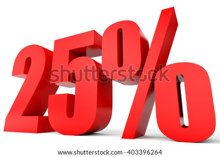 Discount 25 percent off. 3D illustration on white background. - stock photo