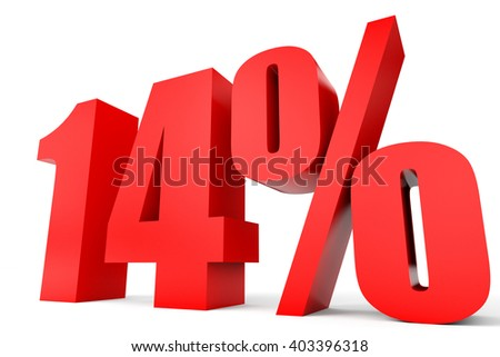Discount 14 percent off. 3D illustration on white background.