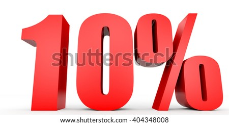 Discount 10 percent off. 3D illustration on white background. - stock photo