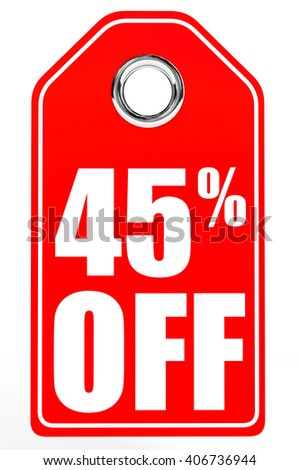 Discount 45 percent off. 3D illustration on white background. - stock photo