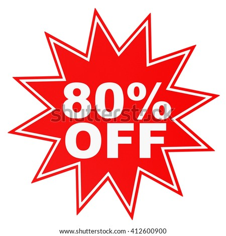 Discount 80 percent off. 3D illustration on white background. - stock photo