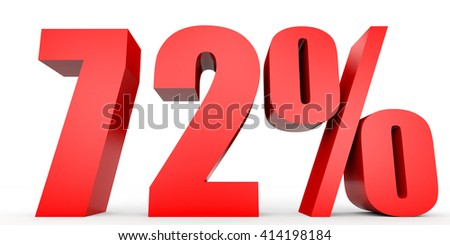 Discount 72 percent off. 3D illustration on white background. - stock photo