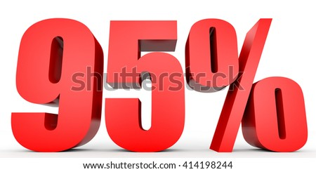 Discount 95 percent off. 3D illustration on white background. - stock photo