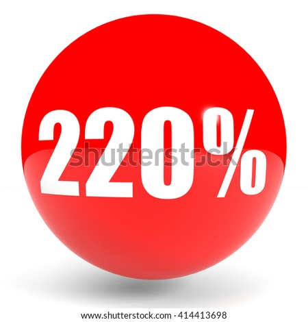 Discount 220 percent off. 3D illustration on white background.