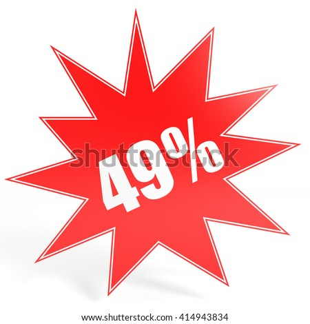 Discount 49 percent off. 3D illustration on white background. - stock photo