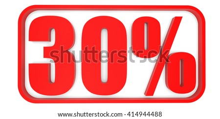 Discount 30 percent off. 3D illustration on white background. - stock photo