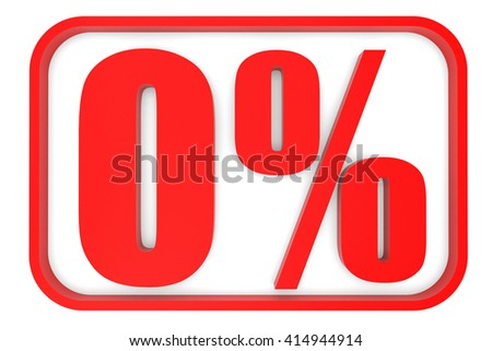 Discount 0 percent off. 3D illustration on white background. - stock photo