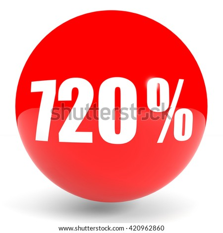 Discount 720 percent off. 3D illustration on white background.