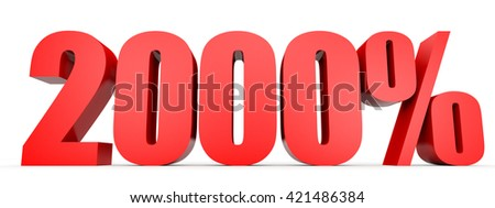 Discount 2000 percent off. 3D illustration on white background. - stock photo