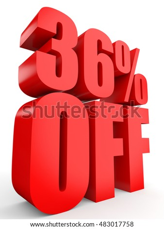Discount 36 percent off. 3D illustration on white background.