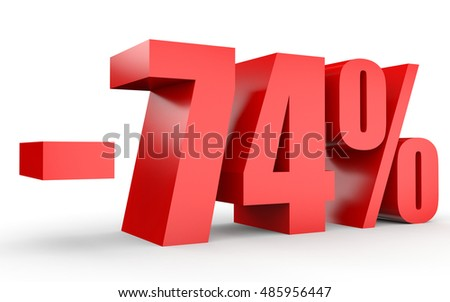 Discount 74 percent off. 3D illustration on white background.