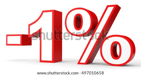 Discount 1 percent off. 3D illustration on white background.