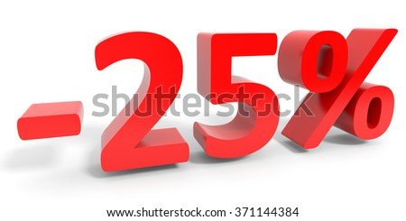 Discount 25 percent off sale. 3D illustration.