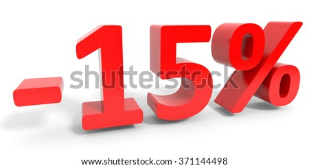 Discount 15 percent off sale. 3D illustration.