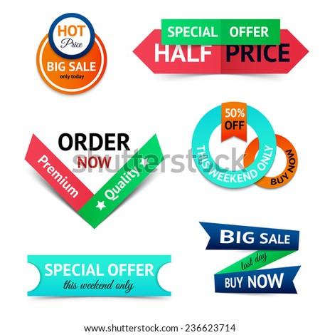 Discount premium product big sale retro color origami ribbon banner set isolated  illustration - stock photo