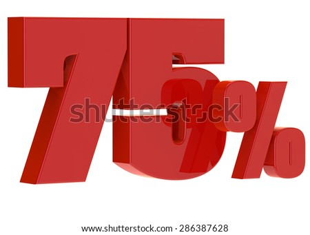 discount seventy five percent on a white background - stock photo
