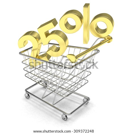 discount 25%, shopping cart on white background.  - stock photo