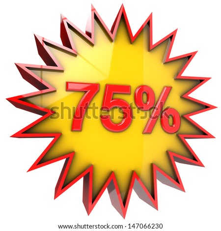 Discount Star seventy five percent in 3d isolated with clipping path and alpha channel