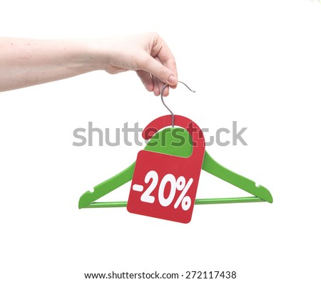 discount tag in hand a woman - stock photo