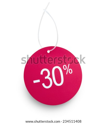 Discount tag. 30% off against white background. Clipping path on tag and hanger tape - stock photo