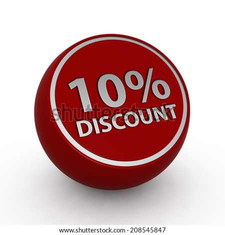 Discount ten percent circular icon on white background