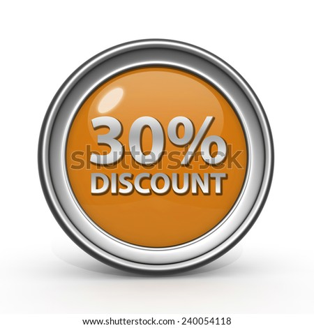Discount thirty percent circular icon on white background