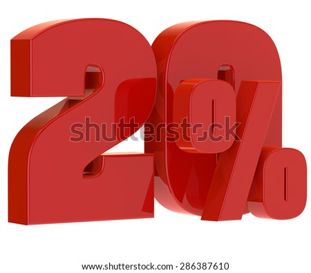 discount twenty percent on a white background - stock photo