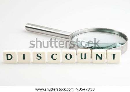 Discount word and magnifying glass