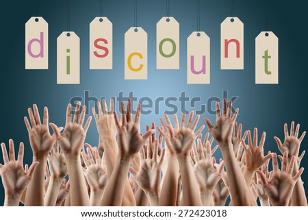 Discount word on labels over blue gradient background, people's hands lifted up in the air. Sale poster. Festive backdrop poster on Black Friday theme with copy space and clipping pass.