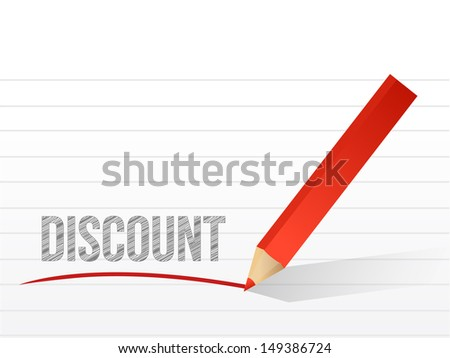 discount written on a notepad paper. illustration design
