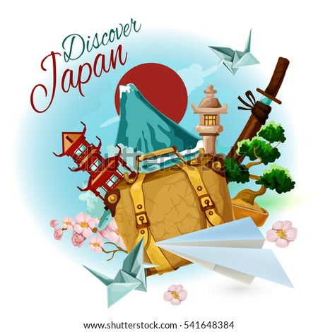 Discover japan poster with cartoon suitcase mountain and sakura  illustration