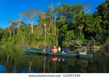 Discover the Amazon. Tambopata national park in Peru - stock photo
