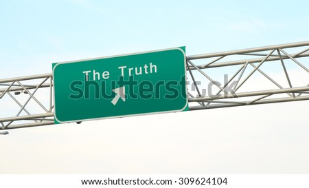 Discover the truth - Freeway sign direction - stock photo