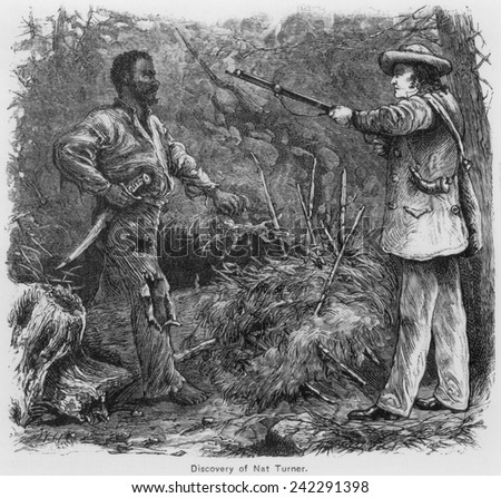Discovery of Nat Turner (1800-1831), by Benjamin Phipps on October 30, 1831. Turner eluded capture for two months, he was discovered hiding in a cave. Engraving by William Henry Shelton (1840-1890). - stock photo